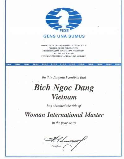 Đặng Bích Ngọc đạt danh hiệu Kiện tướng Quốc tế năm 2010
